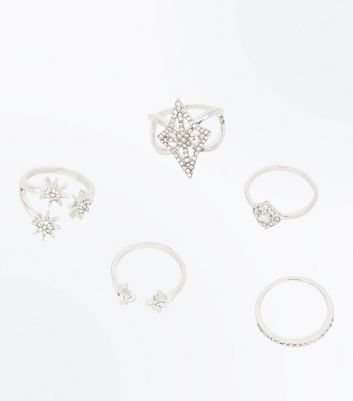 5 Pack Silver Crystal Star Rings
