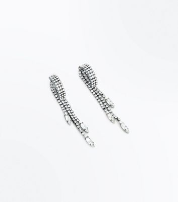 Silver Diamante Hoop and Tassel Earrings