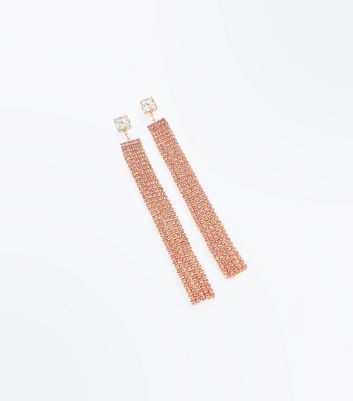 Pink Embellished Tassel Shoulder Duster Earrings