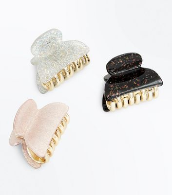 3 Pack Gold Textured Glitter Mini Bulldog Clips