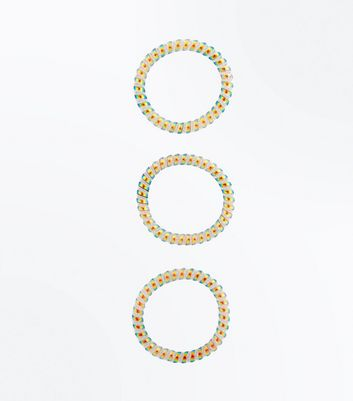 3 Pack Rainbow Spiral Hair Bobbles