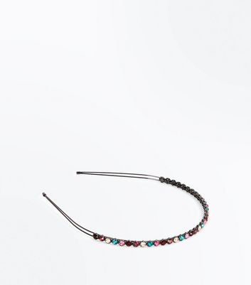 Black Gem Embellished Hair Band