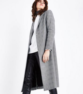 Grey Check Pattern Duster Coat