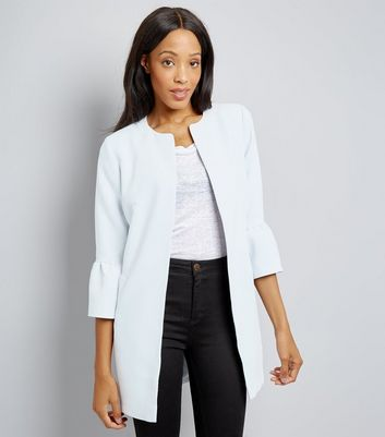 Pale Blue Collarless Frill Sleeve Coat