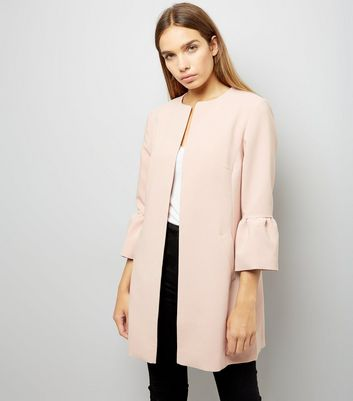 Pink Collarless Frill Sleeve Coat