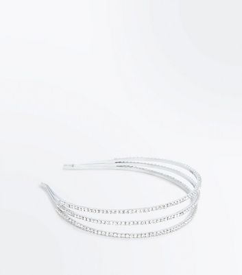 Silver Diamante Embellished Triple Hair Band