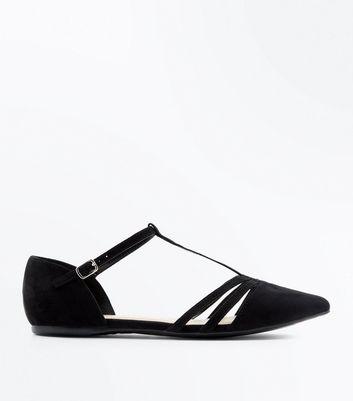 Wide Fit Black T Bar Pointed Ballet Pumps