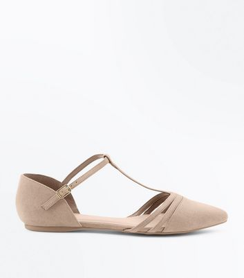 Wide Fit Brown T Bar Pointed Ballet Pumps