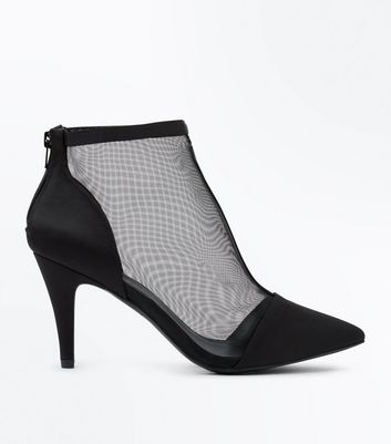 Wide Fit Black Mesh Heeled Shoe Boots