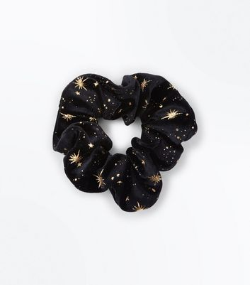 Black Velvet Metallic Star Scrunchie