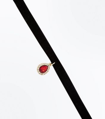 Red Teardrop Gem Embellished Choker
