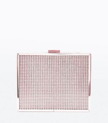 Rose Gold Studded Box Clutch Bag