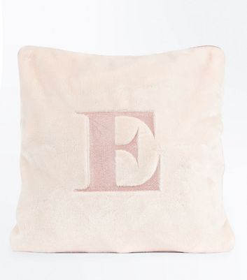 Pink Embroidered E Initial Cushion