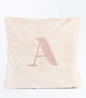 Pink Embroidered A Initial Cushion