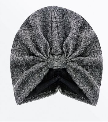 Silver Glitter Knot Front Hat
