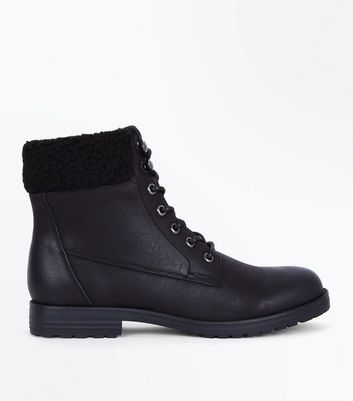 Black Faux Shearling Trim Lace Up Boots