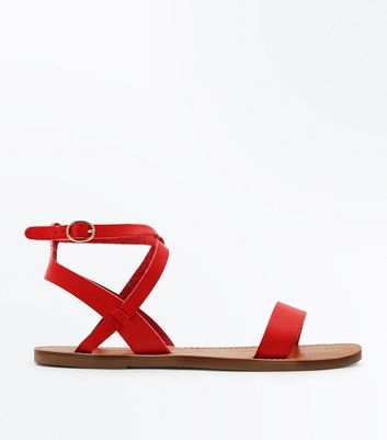 Red Ankle Cross Strap Sandals