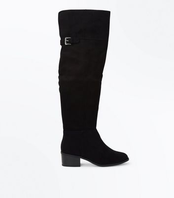Black Comfort Suedette Over The Knee Boots