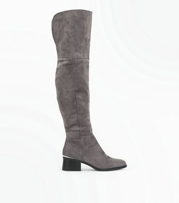 Grey Suedette Metal Trim Over The Knee Boots