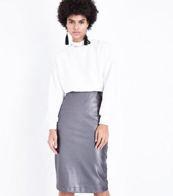 Silver Leather-Look Pencil Skirt