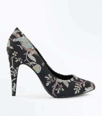 Black Floral Brocade Pointed Court Heels