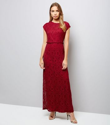 Mela Red Lace Maxi Dress