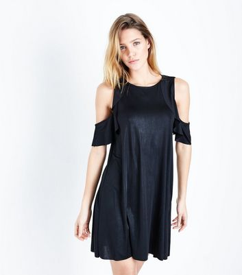 Mela Metallic Black Cold Shoulder Dress