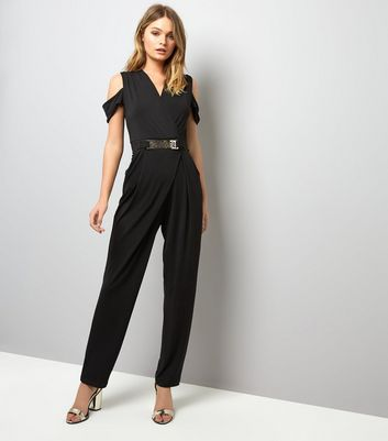 Mela Black Belted Cold Shoulder Jumpsuit