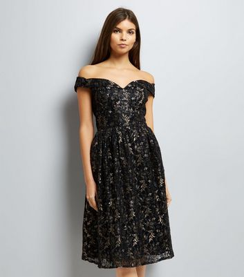 Black Metallic Sequin Bardot Neck Prom Dress