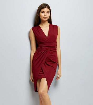 Mela Red Wrap Front Waterfall Dress