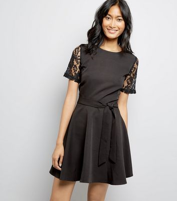 Mela Black Lace Sleeve Dress