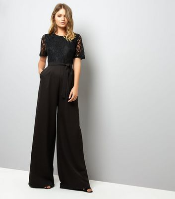 Mela Black Lace Top Wide Leg Jumpsuit