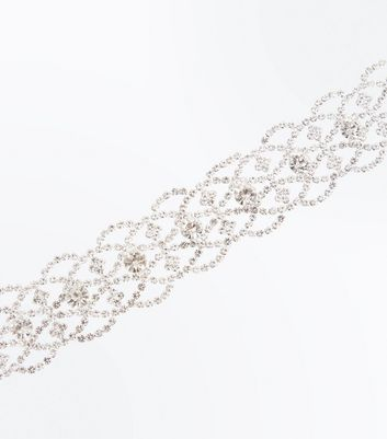 Silver Diamante Embellished Lace Pattern Bracelet