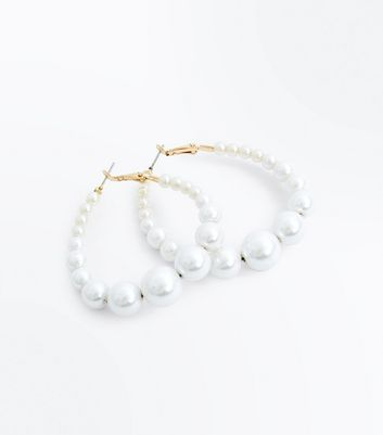 Cream Faux Pearl Hoop Earrings