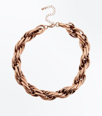 Gold Chunky Twisted Rope Necklace