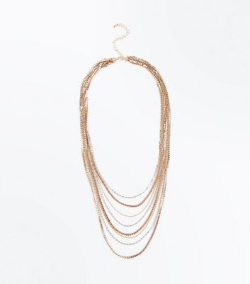 Metallic Layered Textured Chain Necklace