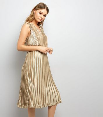 Mela Gold Pleated Dress