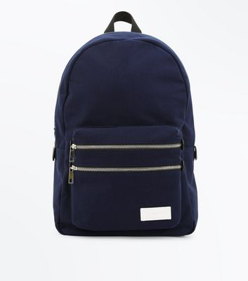 Navy Double Zip Canvas Backpack