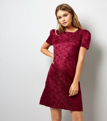Mela Burgundy Rose Embossed Velvet Dress