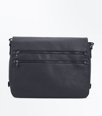 Black Double Zip Front Messenger Bag