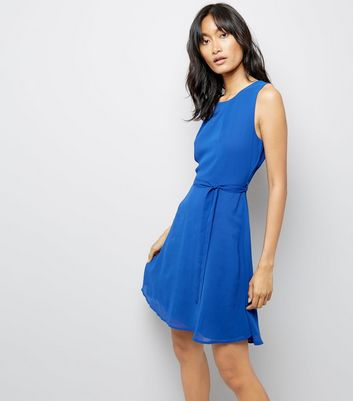 Mela Blue Pleated Skater Dress