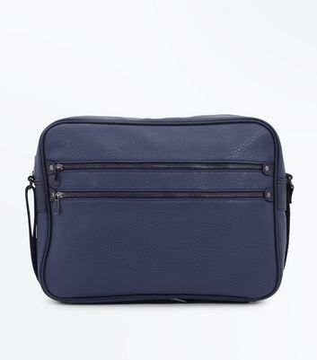 Navy Double Zip Messenger Bag
