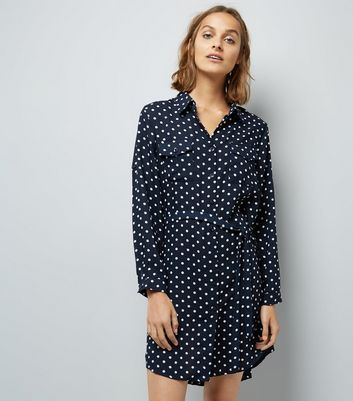 Mela Navy Polka Dot Shirt Dress