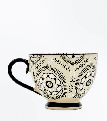 Black Floral Painted Wide Mug