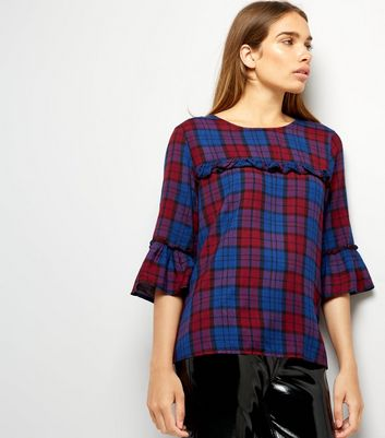 Navy Check Frill Trim Top