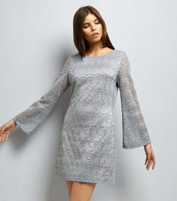 Mela Grey Lace Flared Sleeve Dress