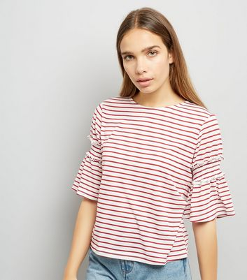Red Stripe Shirred Bell Sleeve T-Shirt