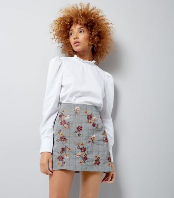 Grey Check Floral Embroidered Mini Skirt