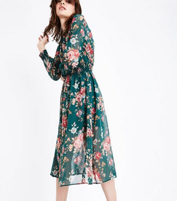 Green Chiffon Floral Print Midi Dress