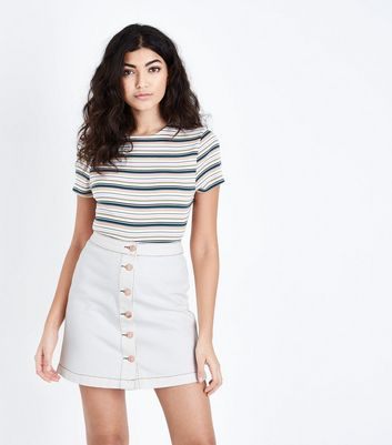 Off White Denim Button Front A-Line Skirt
